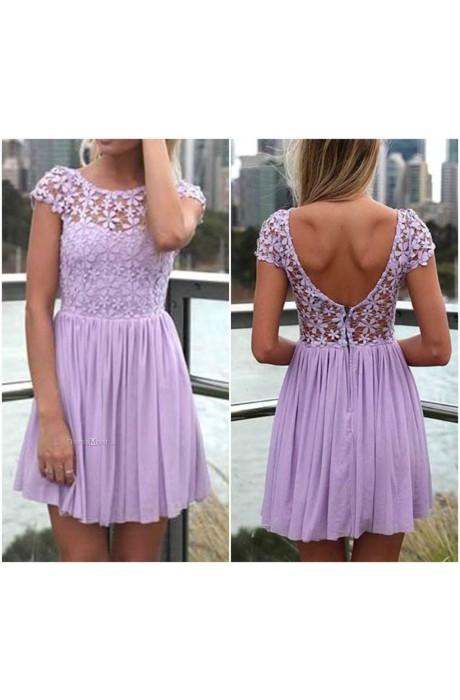 Length zipper scoop evening dress