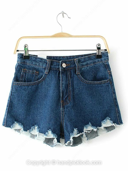 Blue Fashion Ripped Skinny Button Fly Shorts - HandpickLook.com