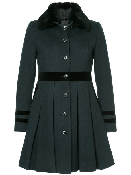 coat pleated women wool green