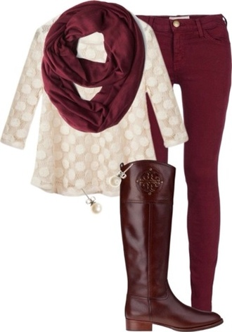 blouse polka dot blouse maroon scarf maroon skinny jeans scarf jeans burgundy back to school boots shoes brown boots flat boots skinny jeans top