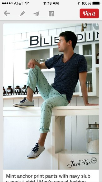 menswear anchor mint green pants