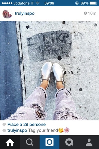 shoes silver vans distressed jeans grey glam vans? trouserse