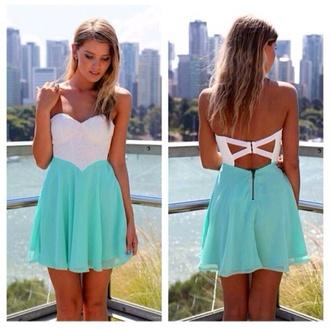blouse pink dress white mint cutaway back