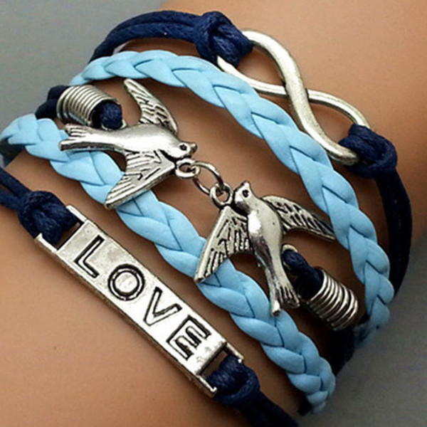 jewels bracelets blue love pendant
