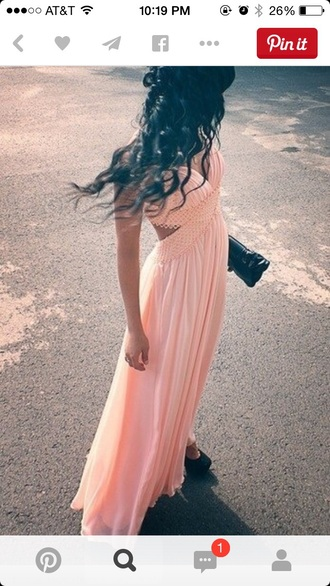 dress peach dress long prom dress pink dress
