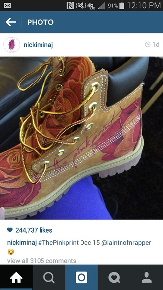 shoes timberland timberlands boots timberland nicki minaj pink print