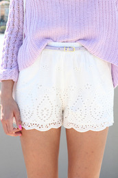 shorts,white,High waisted shorts,eyelet,lace,sweater,white shorts,crochet,summer,etsy,flowwy,flowy,sheer,style,classy,easy,bright,spring,pastel,lace shorts