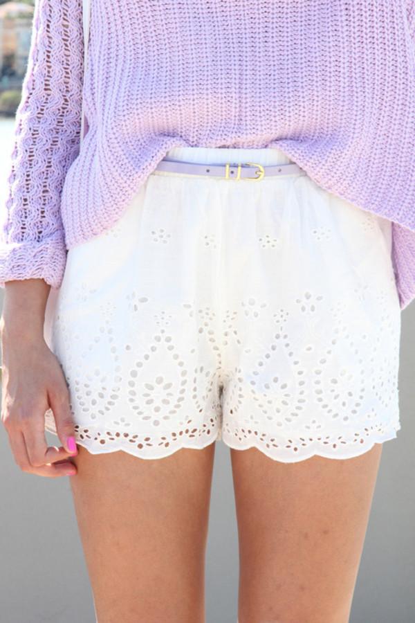 Shorts: white, high waisted shorts, eyelet, lace, sweater, white ...