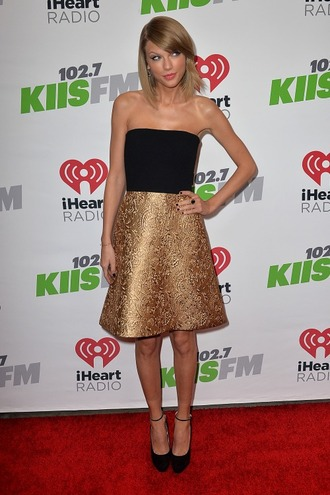 dress gold taylor swift strapless shoes pumps prom dress