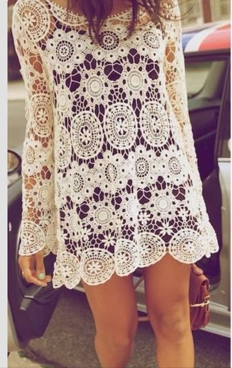 dress white boho crochet dress boho chic boho dress coachella dress white dress