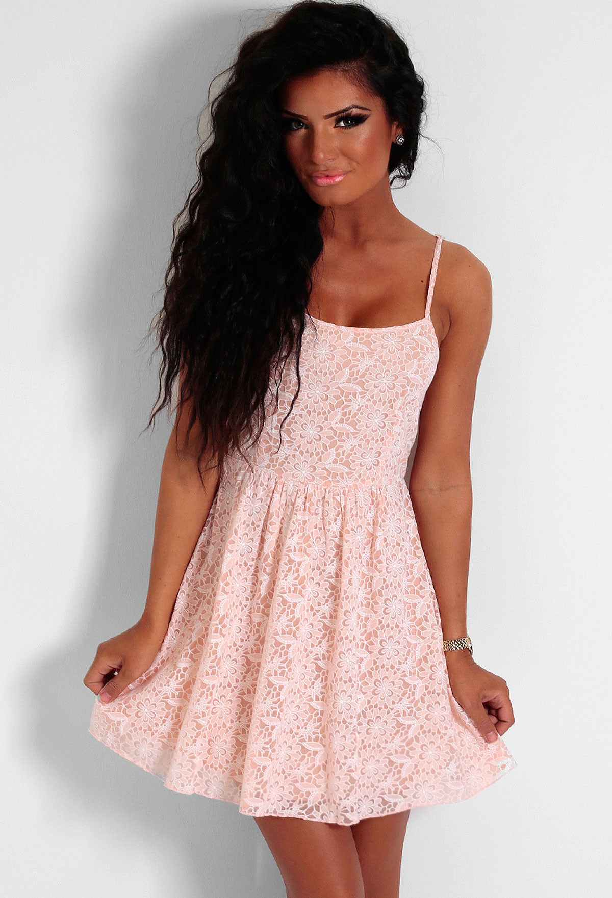 Laycie Peach Lace Overlay Skater Mini Dress | Pink Boutique