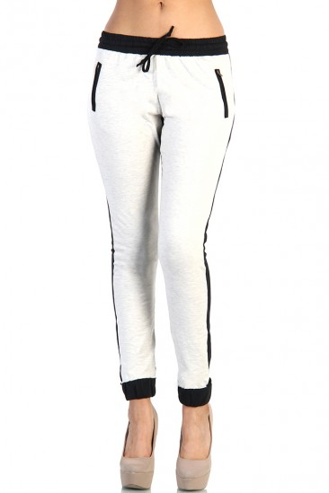 LoveMelrose.com From Harry & Molly | Terry Two-Tone Jogger Pants - Light Gray
