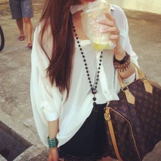 shirt white oversized button up collar boho bracelets designer black shorts style outfit louis vuitton jewels