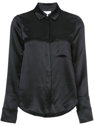 shirt women black silk top