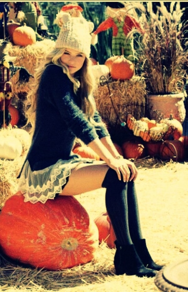 skirt pullover cute outfit thigh highs hat knitted sweater lace black cute sweaters pumpkin boots blonde hair wool fall outfits fall outfits sweater thanksgiving