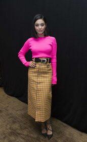 sweater,vanessa hudgens,celebrity,midi skirt,pink,pink sweater,top