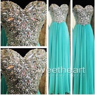 dress blue prom dress diamonds