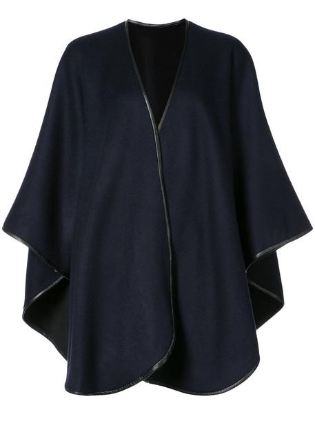 Sofia Cashmere cape women leather blue top