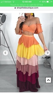 skirt,off the shoulder,off the shoulder top,tie-front top,frilly,multicolor,coachella