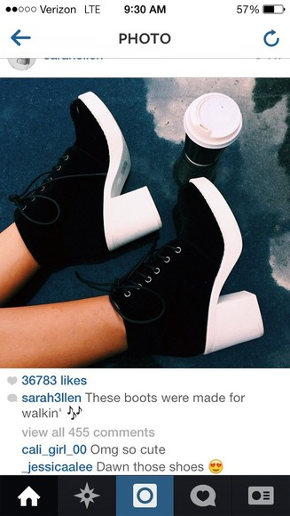 shoes platforms fashion black and white boots need it now