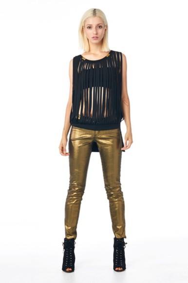 top black tank top tanks top see through top leggings gold leggings kim kardashian bottoms