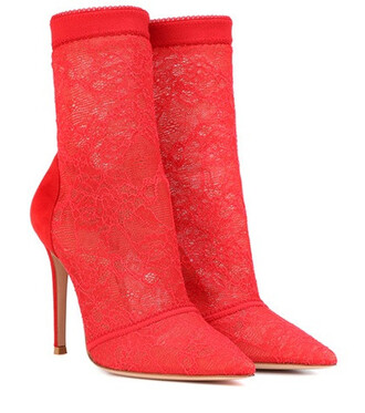 ankle boots lace red shoes