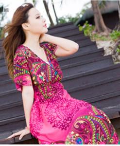 Ladies' Elegant vintage floral print Dress O neck short sleeve casual slim evening party brand designer dress | Amazing Shoes UK