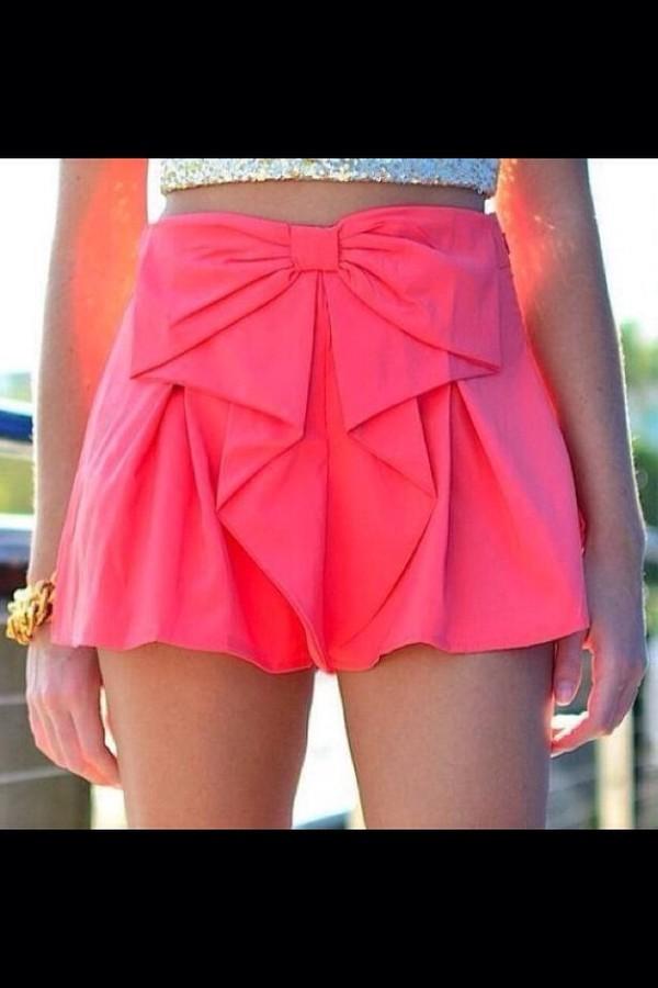 skirt pink bow cute  short
