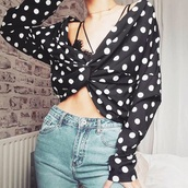 blouse,girly,girly wishlist,girl,black,crop tops,crop,cropped,polka dots,long sleeves,off the shoulder