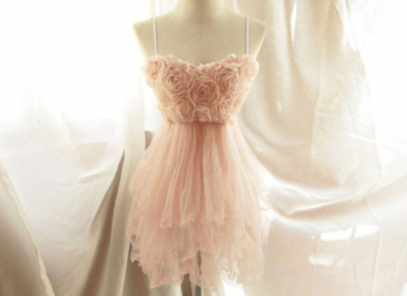 dress pink cute rose cute dress pastel light flowy sexy pink dress rose dress clothes peach floral flower flowey pink roses pink prom dress