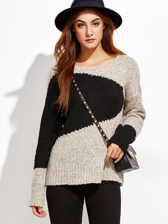 sweater casual black beige fashion long sleeves style fall outfits knitwear sheinside