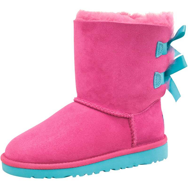 Ugg Girls Bailey Bow Boots Princess Pin/Blue Curacao at MandM Direct