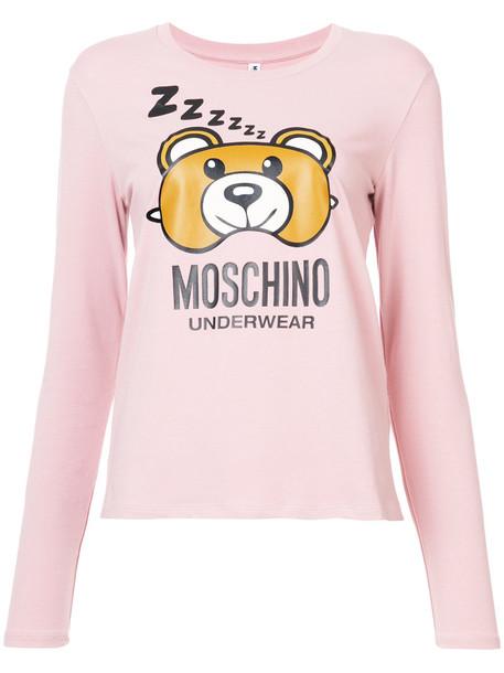 Moschino shirt women spandex cotton print purple pink top