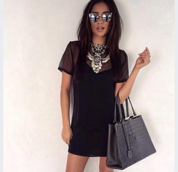 Dress black dress mesh dress mesh see through dress for T shirt dress outfit tumblr