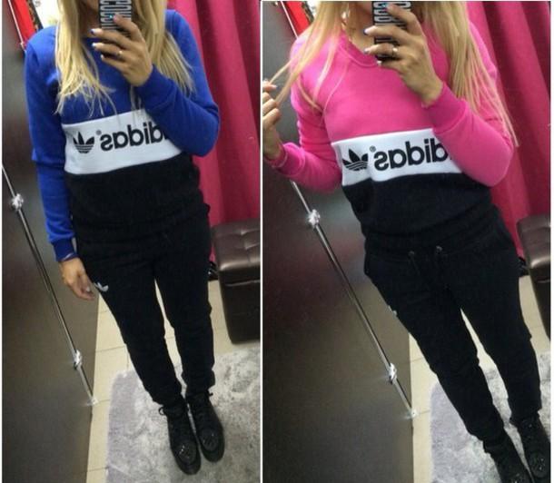 Jumpsuit adidas adidas tracksuit tracksuit joggers pink blue sweater sweatshirt pants ...