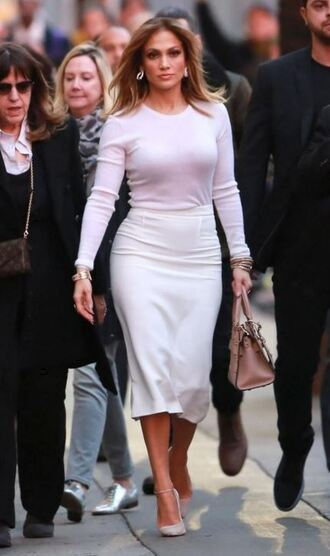 skirt midi skirt top shoes jennifer lopez