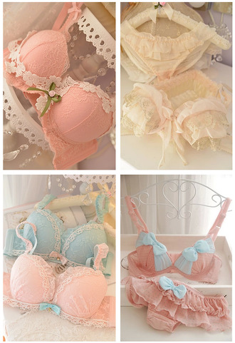 underwear bra lace bra bows pink lace blue lace kawaii lace lingerie kawaii underwear bag