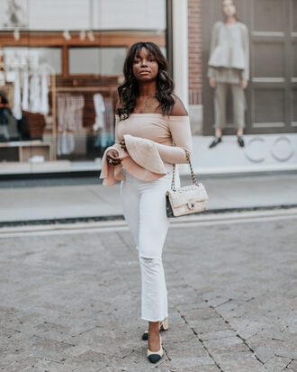 millennielle blogger top jeans bag chanel bag chanel slingbacks off the shoulder top white jeans bell sleeves spring outfits
