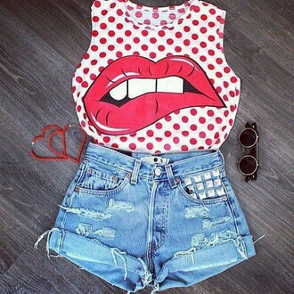 blouse polka dots sleveless lips jeans shirts distressed