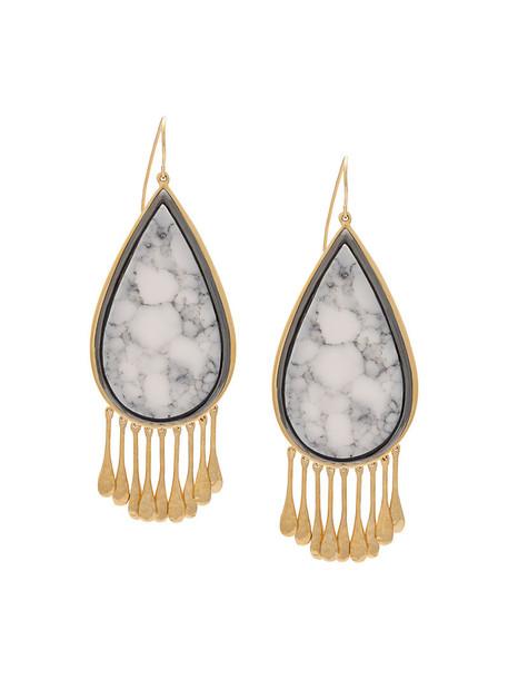 AURELIE BIDERMANN women earrings gold grey marble metallic jewels