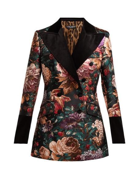 Dolce & Gabbana - Floral Jacquard Velvet Blazer - Womens - Black Multi