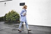 happily grey,blogger,coat,light blue,t-shirt,shoes,bag,scarf