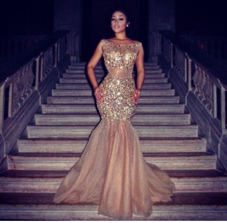 dress shiip dresses for prom nude beige gold shimmery dress stones necklce sequins prom