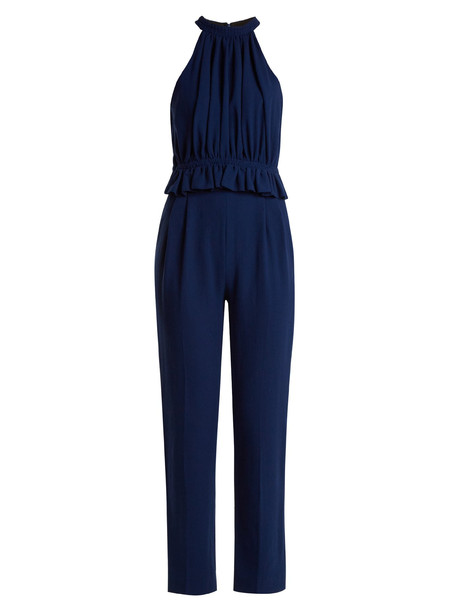 EMILIA WICKSTEAD Everette halterneck wool-crepe jumpsuit in blue