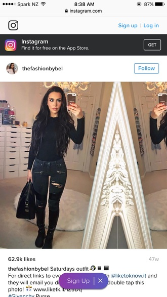 jeans carli bybel all black everything denim black denim tight leather and denim blouse