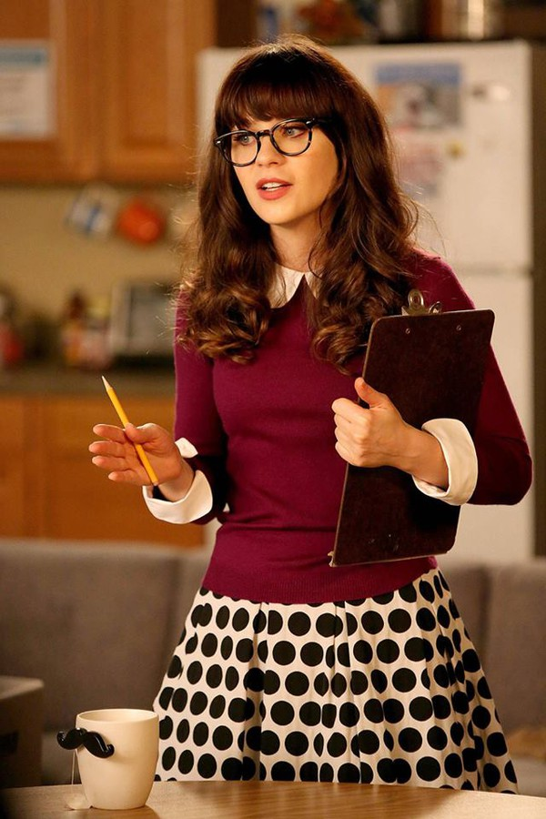 shirt new girl peter pan collar polka dots skirt polka dots skirt sweater burgundy sweater glasses nerd glasses