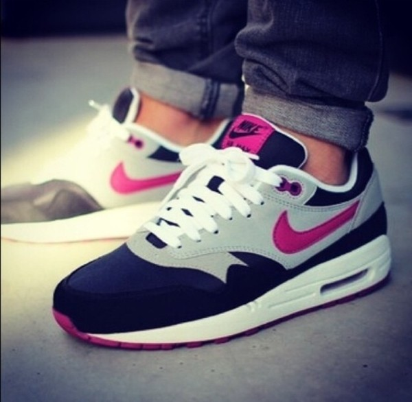 shoes black white grey pink nike air max nike air max 1 love pink black and grey shoes nike love