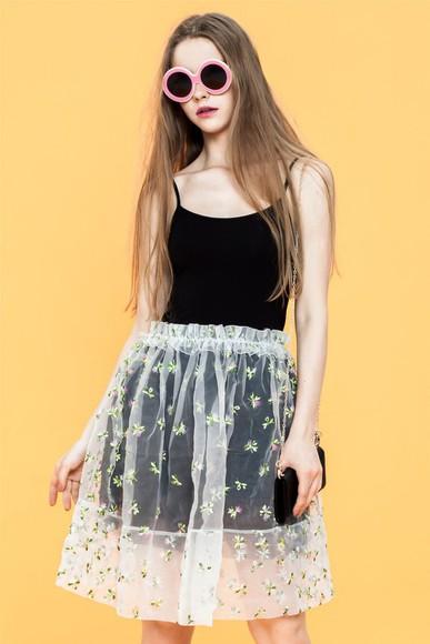 round sunglasses fairy skirt floral skirt