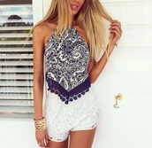 top,blouse,navy,halter top,fashion,boho shirt,paisley,strapless,blue and white,shirt,shorts,romper,blue,white,crop tops