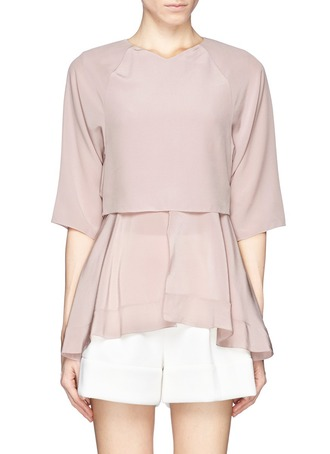 blouse chloé flare hem double layer silk blouse chloé flare hem double layer silk blouse silk blouse double layer blouse